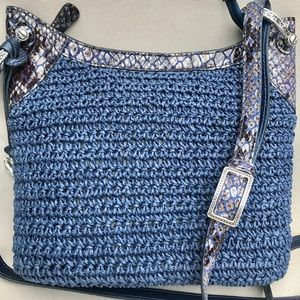 Brighton Navy Blue Straw Crossbody